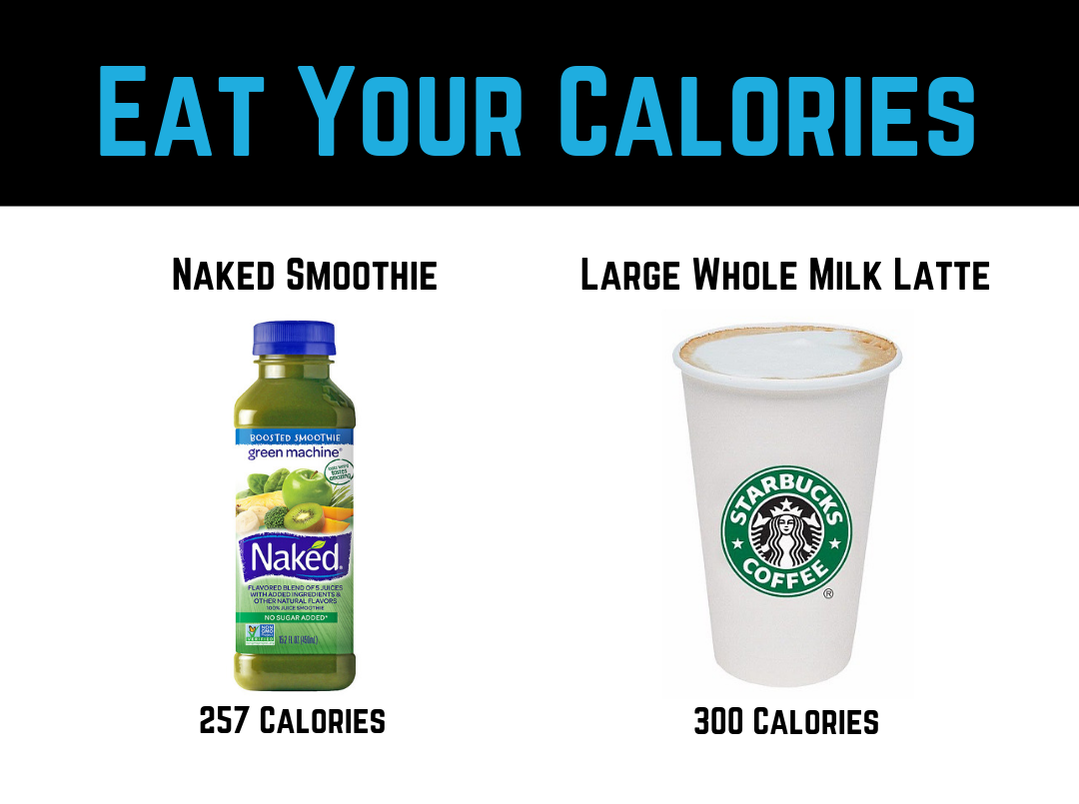Diet Tip #4 - Eat Your Calories - Avoid hidden calories in drinks and coffees by Strength Coach Glasgow Weight Loss Tips